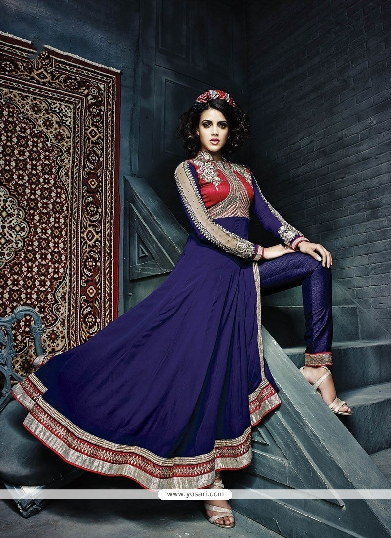 Pretty Blue Georgette Designer Anarkali Suit