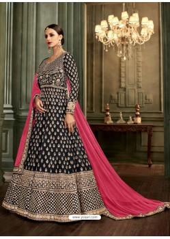Black Silk Embroidered Designer Anarkali Suit