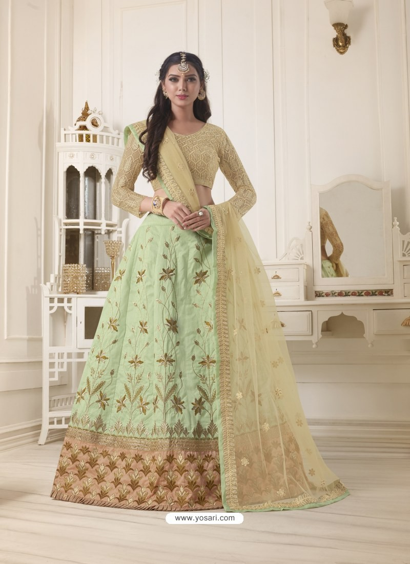 0908c692c5 Buy Sea Green Pure Bangalore Silk Stone Hand Worked Designer Lehenga ...