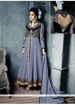 Pleasant Grey Resham Work Anarkali Salwar Suit