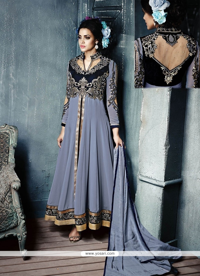 Pleasant Grey Resham Work Anarkali Salwar Suit