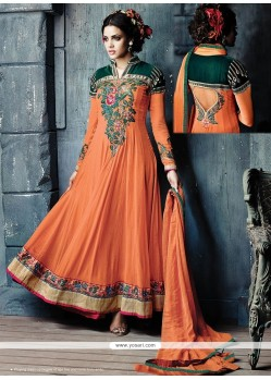Splendid Orange Georgette Anarkali Salwar Suit