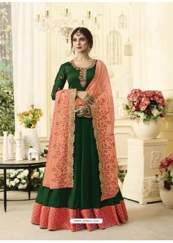 Dark Green Georgette Designer Embroidered Anarkali Suit