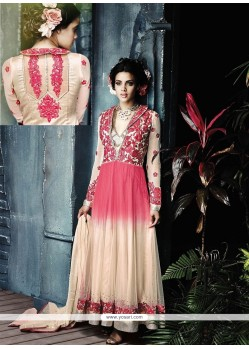 Pink And Cream Net Designer Anarkali Suit