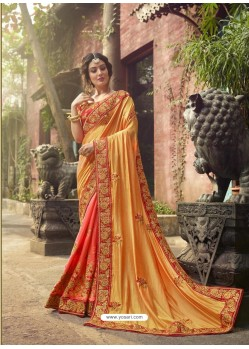 Yellow And Orange Crepe Silk Thread Embroidered Wedding Saree