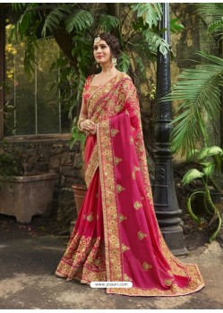 Feminine Rani Crepe Silk Thread Embroidered Wedding Saree