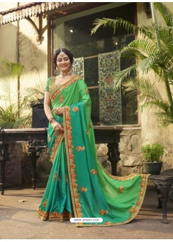 Green Crepe Silk Thread Embroidered Wedding Saree