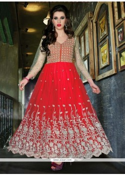 Celestial Red Net Designer Anarkali Suit