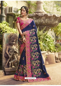 Navy Blue Crepe Silk Thread Embroidered Wedding Saree