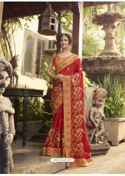 Red Crepe Silk Thread Embroidered Wedding Saree