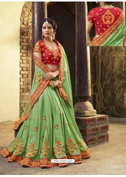 Sea Green Crepe Silk Thread Embroidered Wedding Saree
