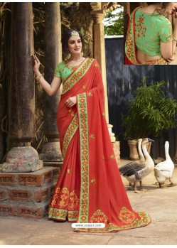 Tomato Red Crepe Silk Thread Embroidered Wedding Saree