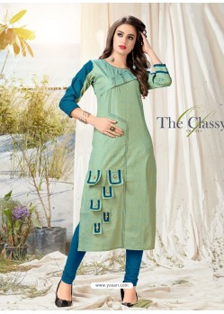 Sea Green Khadi Cotton Hand Worked Readymade Kurti