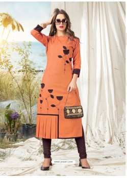 Orange Khadi Cotton Hand Worked Readymade Kurti