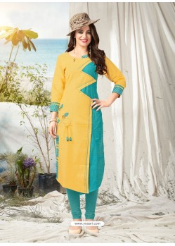 Yellow Khadi Cotton Hand Worked Readymade Kurti