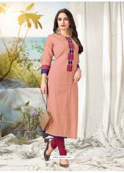 Light Red Khadi Cotton Hand Worked Readymade Kurti