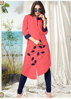 Dark Peach Khadi Cotton Hand Worked Readymade Kurti