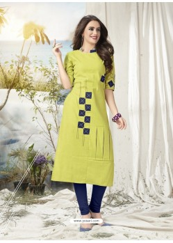 Parrot Green Khadi Cotton Hand Worked Readymade Kurti