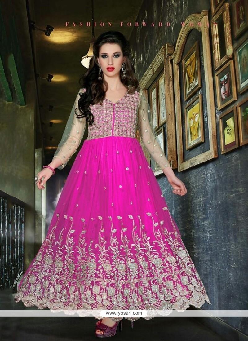 Stupendous Magenta Net Designer Anarkali Suit
