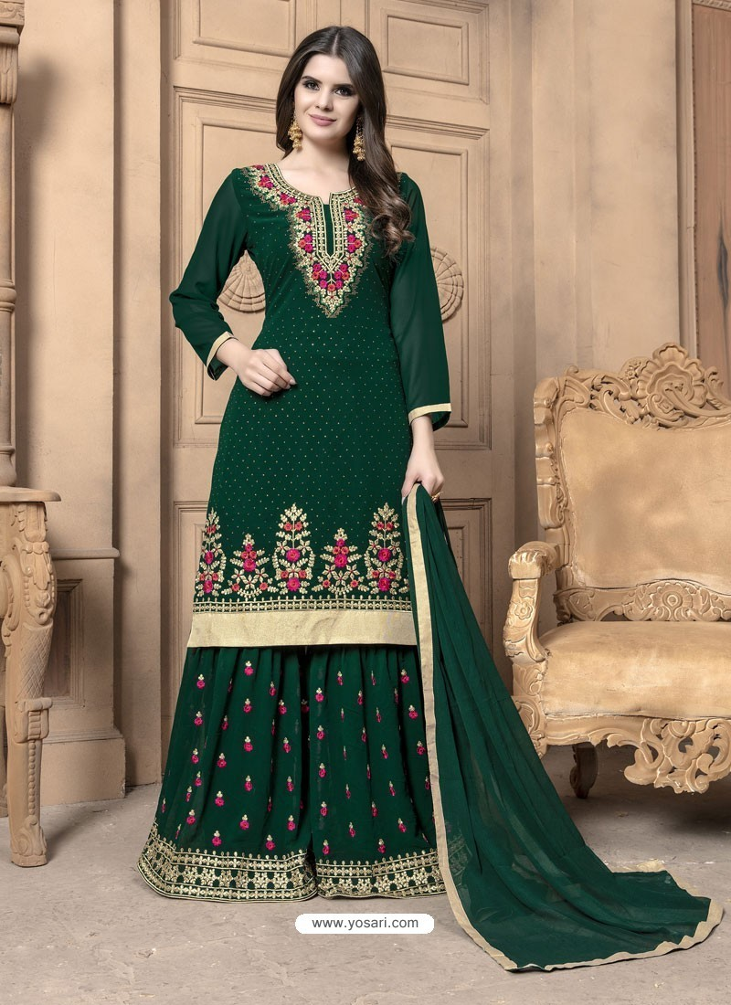 c3fdc7d4cd Buy Dark Green Faux Georgette Embroidered Palazzo Suit | Palazzo ...