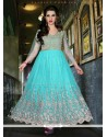 Turquoise Blue Net Embroidery Work Anarkali Suit