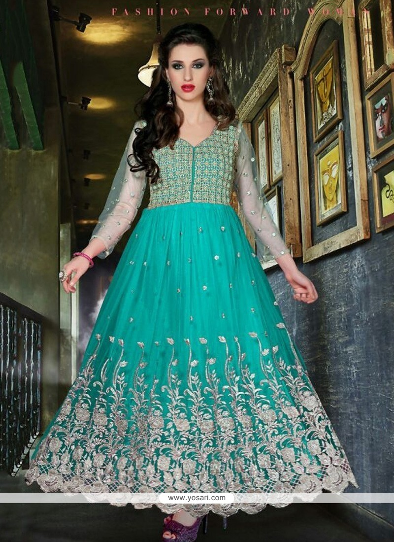 Stellar Sea Green Net Designer Anarkali Suit