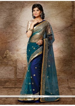 Splendid Blue And Teal Net Designer Saree