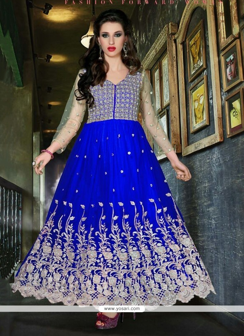 Flashy Blue Embroidery Work Net Anarkali Suit