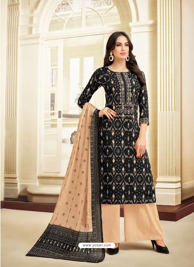 c03f544a38 Buy Black And Cream Printed Heavy Chanderi Palazzo Suit | Palazzo ...