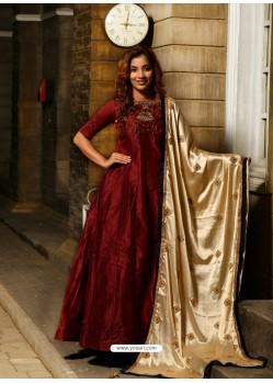 Maroon Silk Hand Worked Designer Gown Suit