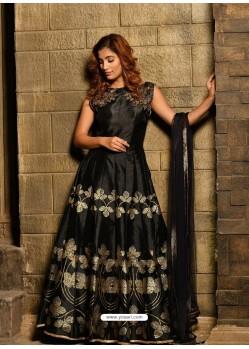 Black Silk Metallic Foil Worked Designer Gown Suit