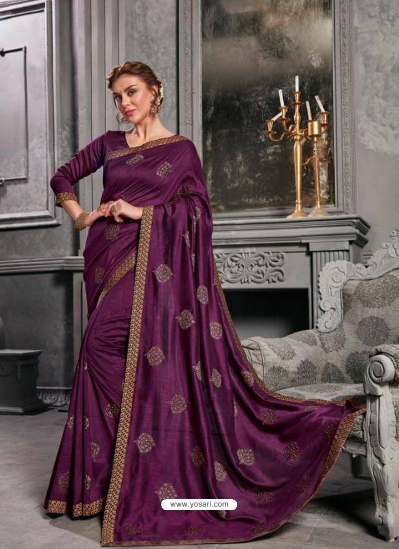 13d831776d Buy Purple Jacquard Silk Embroidered Saree   Designer Sarees