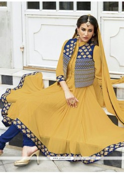 Elegant Mustard Chinon Fabric Anarkali Suit
