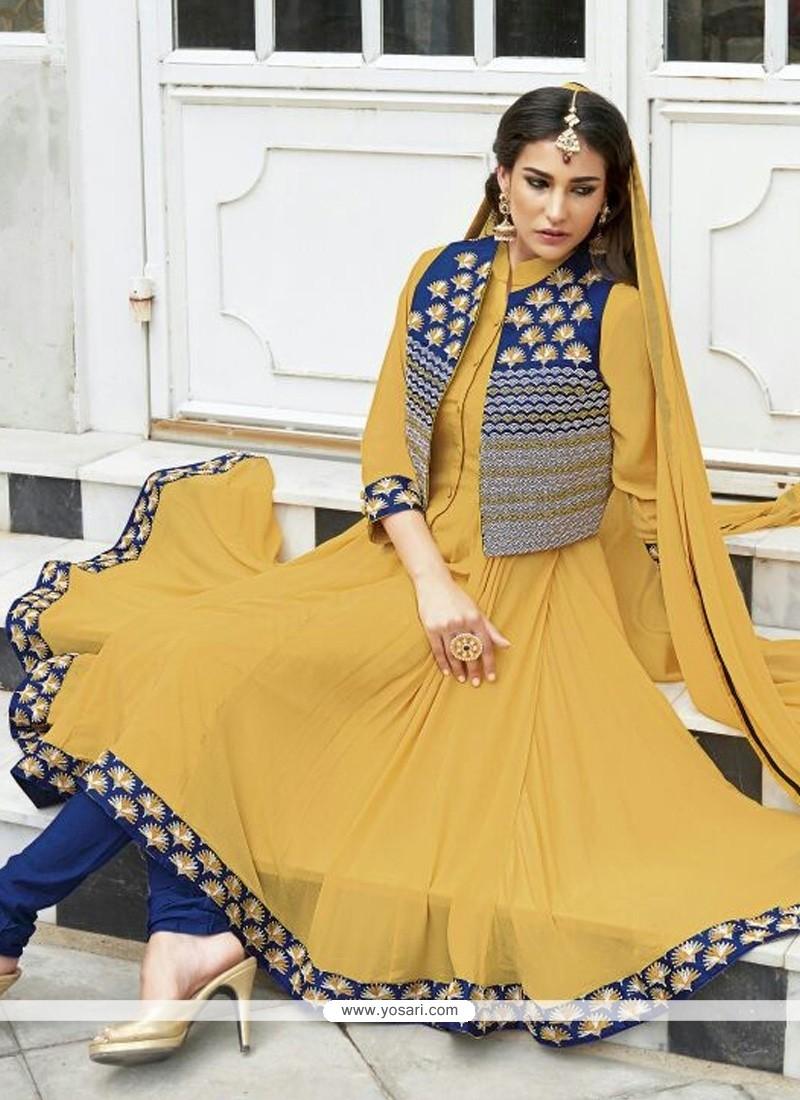 Elegant Mustard Chinon Fabric Anarkali Suit