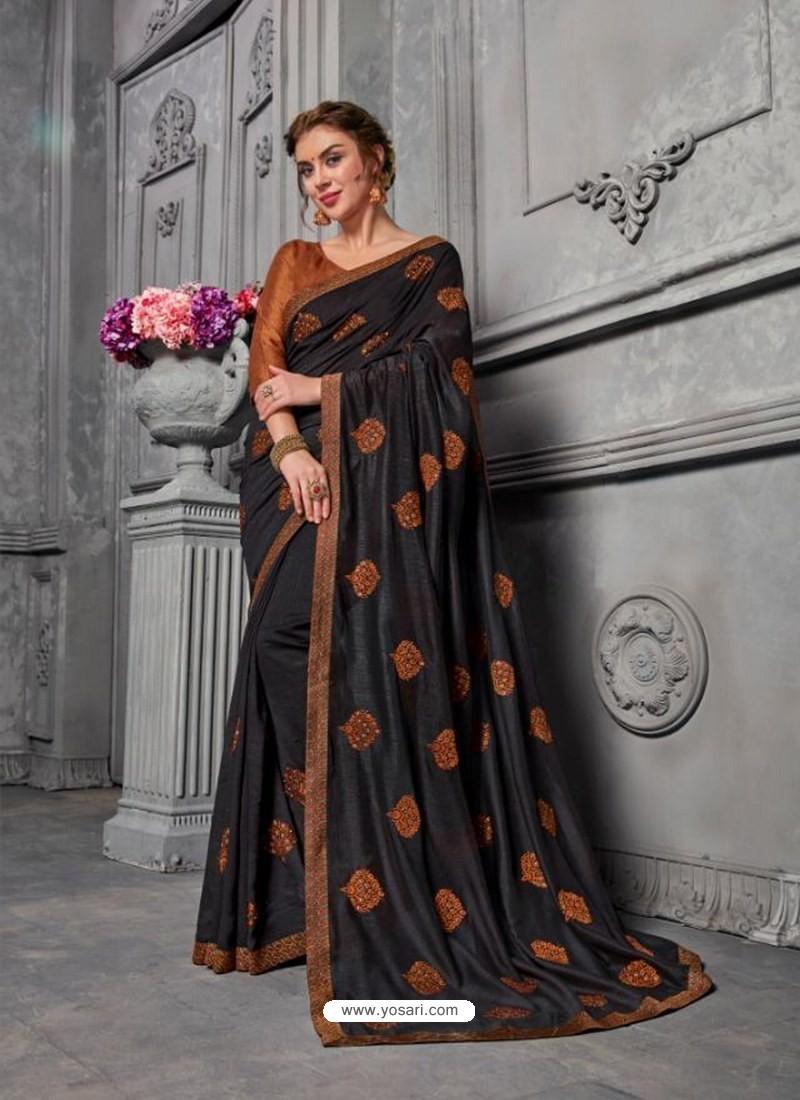 506add7cbc Buy Black Jacquard Silk Embroidered Saree
