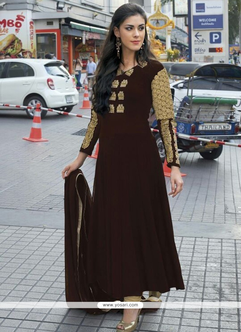 Pleasant Brown Georgette Anarkali Salwar Suit