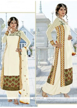 Miraculous Off White Satin Pakistani Suit