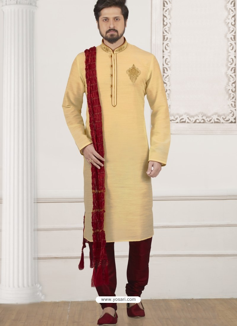 a59275c724 Buy Gold Art Banarasi Silk Embroidered Kurta Pajama | Kurta Pajama
