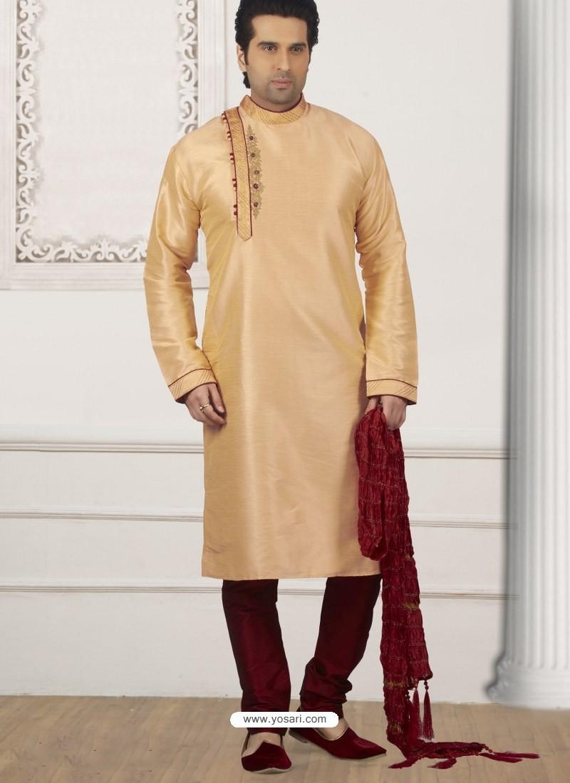 87f9eae814 Buy Light Beige Art Banarasi Silk Embroidered Kurta Pajama | Kurta ...