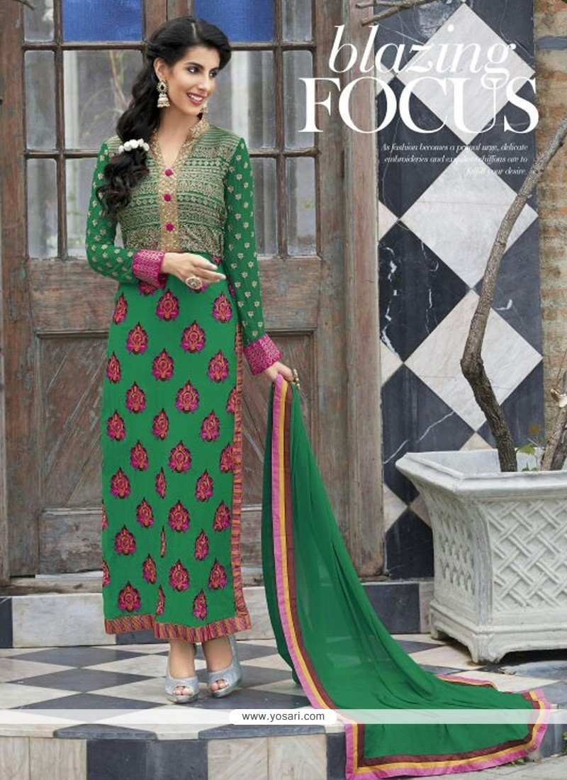 Stupendous Green Georgette Churidar Salwar Suit