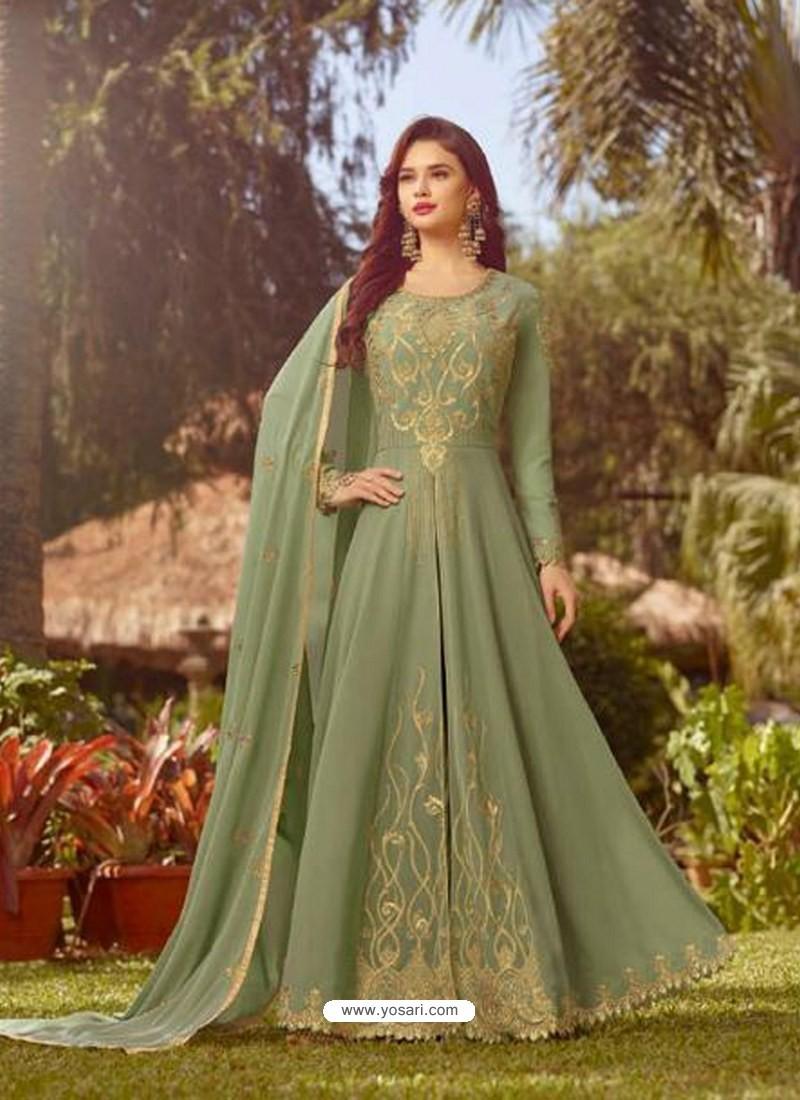 94e6d6c22b Buy Olive Green Soft Georgette Embroidered Designer Anarkali Suit ...