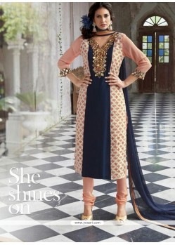 Peach And Blue Georgette Churidar Salwar Suit