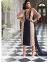 Peach And Blue Georgette Churidar Salwar Suit