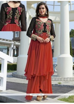 Enthralling Red Georgette Anarkali Salwar Suit