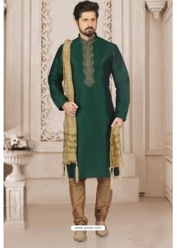 Desirable Dark Green Art Banarasi Silk Embroidered Kurta Pajama