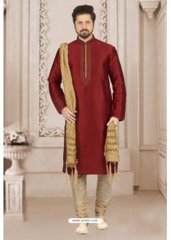 Maroon Art Banarasi Silk Embroidered Kurta Pajama
