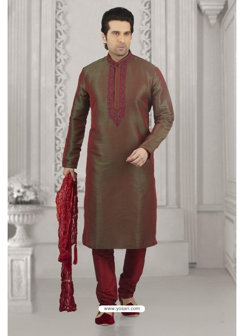 60b115459b Buy Maroon And Green Shaded Art Banarasi Silk Embroidered Kurta ...
