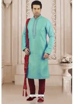 Sky Blue Art Banarasi Silk Embroidered Kurta Pajama