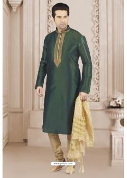 Dark Green Art Banarasi Silk Embroidered Kurta Pajama