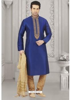 Royal Blue Art Banarasi Silk Embroidered Kurta Pajama